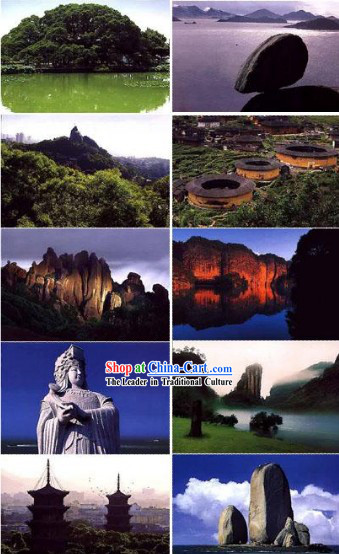 China Classic Fujian Scene Postcards Set _10 Pieces_