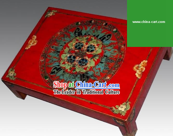 Chinese Lucky Red Coloured Drawing Desk