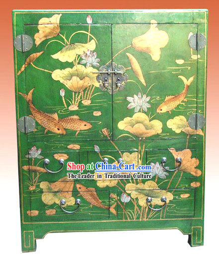Chinese Classic Green Lotus Carp Cabinet