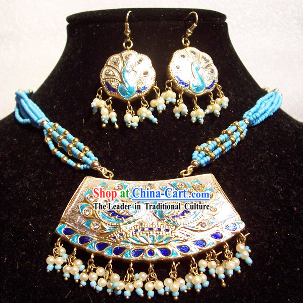 Indian Fashion Jewelry Suit-Light Blue Peacock Princess