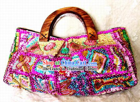 Indian Rainbow Hand Embroidered Handbag