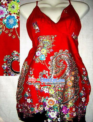 Indian Super Beautiful Lucky Red Hand Embroidered Long Skirt