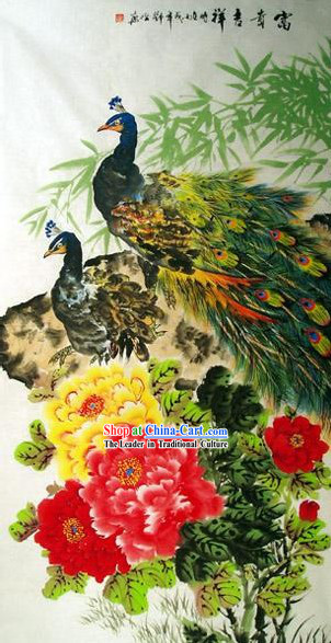 Chinese Hand Painted Painting by Qin Xia-Peacock Love