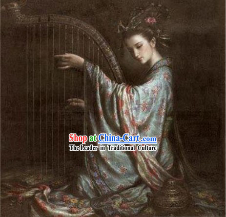 Chinese Classical Handicraft Embroidery-Fairy Playing Lute