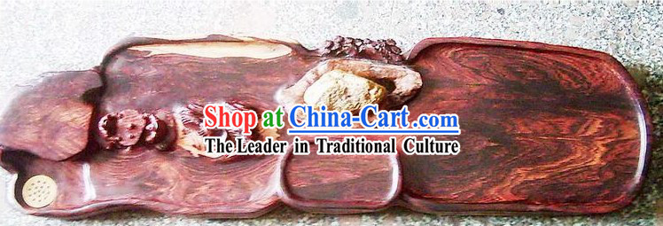 Chinese Large Hand Carved Nature Rose Wood Tea Tray