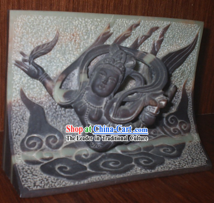 Chinese Dunhuang Hand Carved Flying Fairy _Fei Tian_ Fresco