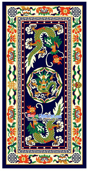 Art Decoration China Tibetan Large Hand Made Wool Rug-Dragons (200*400cm)