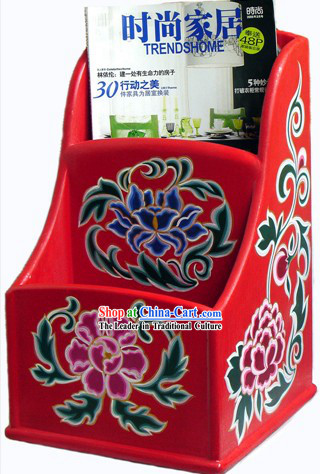 Chinese Coloured Painting Book _Newspaper_ Box_Cabinet