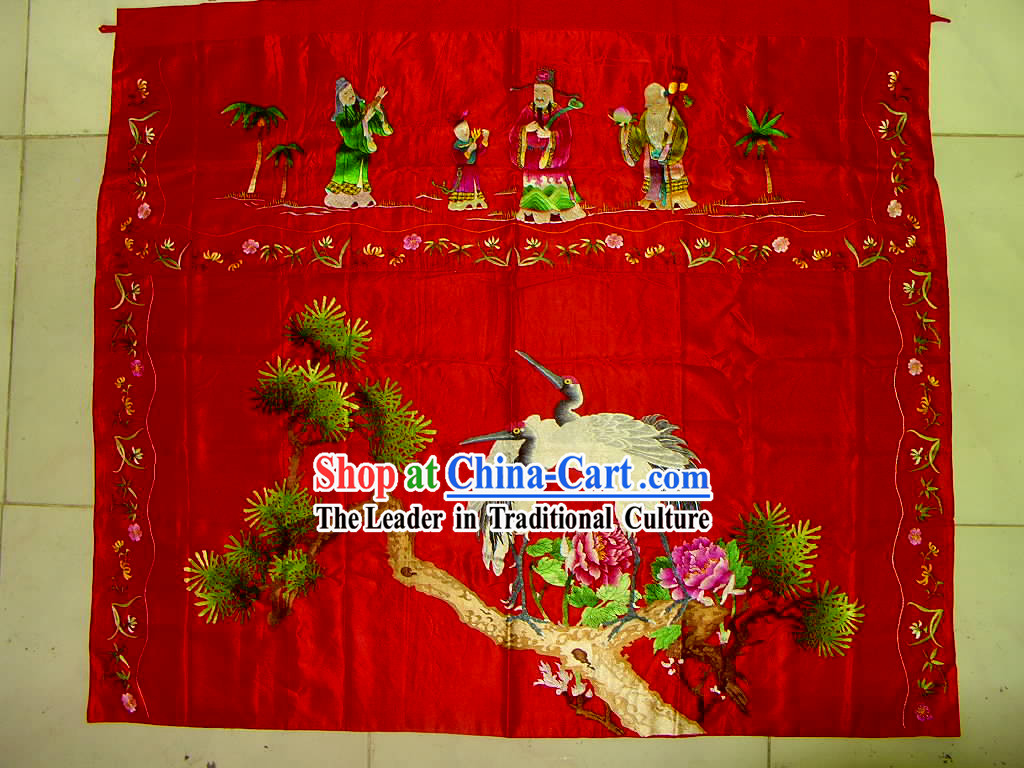 Chinese Hand Made Embroidery-Ancient People and Crane