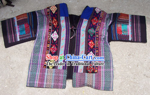 Chinese Stunning Miao Tribe Hand Embroidery Collectible-Rainbow Dress for Woman