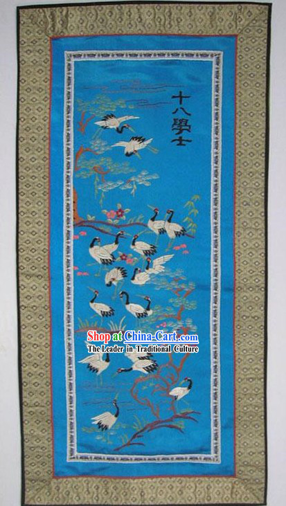 Chinese Embroidery Handicraft-Eighteen Cranes