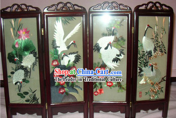 Chinese Double-Sided Embroidery Folding Screen Handicraft-Cranes