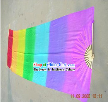 Chinese Long Silk Rainbow Colour Dance Fan