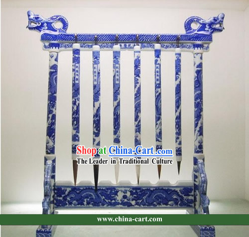 Underglaze Blue Jingde Porcelain Ancient Palace Pen Holder