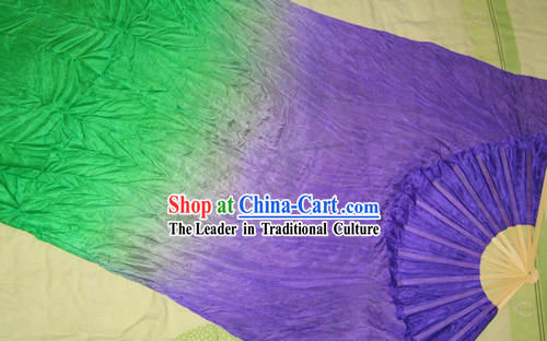 Supreme Bamboo Handle Chinese Traditional Silk Dance Fan (purple to green color transition)