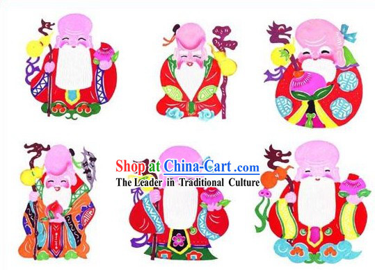 Chinese Classical Longevity Papercuts (6 Pieces Set)