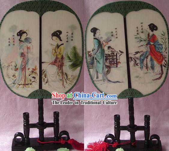 Chinese Traditional Round Silk Double Sided Palace Fan - Ancient Four Women Poet