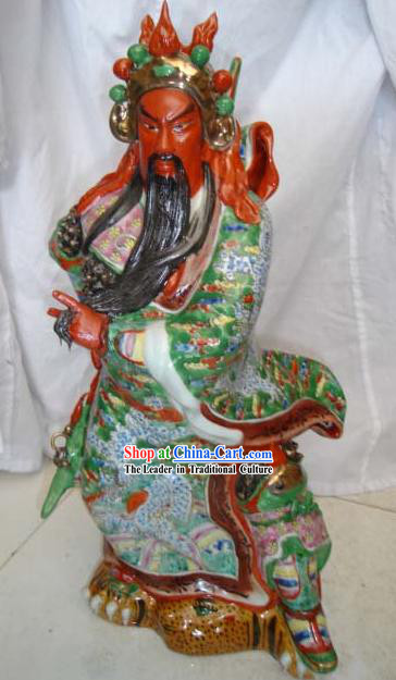 Chinese Jingde Colorful Ceramics Gwan Gong Statue