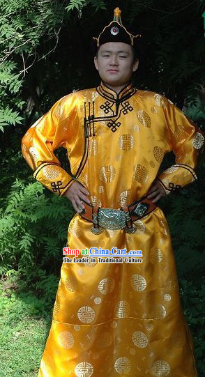 Chinese Traditional Mongolian Emperor Golden Long Robe and Hat Complete Set