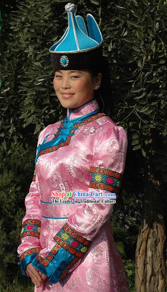 Chinese Traditional Handmade Mongolian Long Robe and Hat Complete Set (pink)