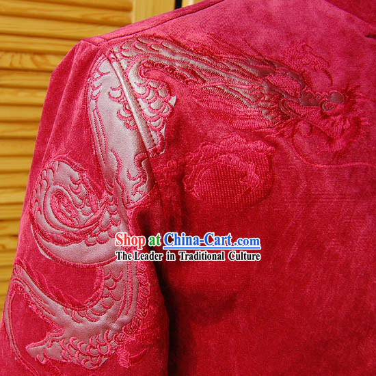 Chinese Red Dragon Wedding Blouse for Men