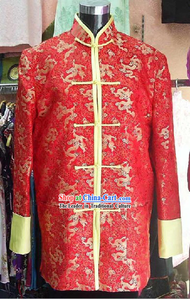Chinese Lucky Red Dragon Mandarin Blouse