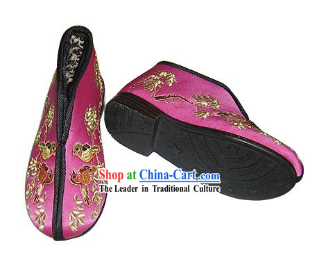 Chinese Traditional Handmade Embroidered Thick Satin Winter Shoes for Children (magpies)