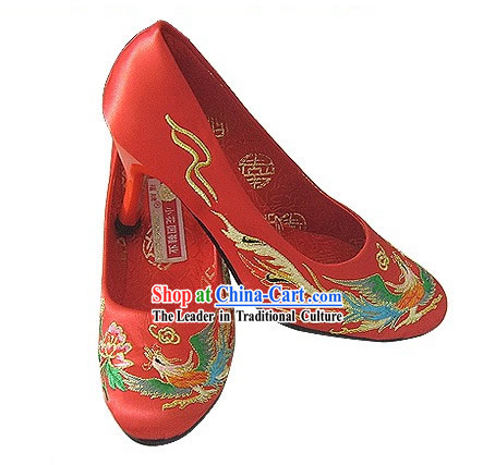 Chinese Classical Handmade and Embroidered Dragon and Phoenix High Heel Wedding Shoes _red_