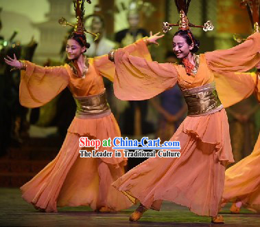 Chinese Ancient Han Dynasty Palace Dance Costumes Complete Set