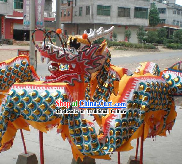 Supreme Chinese Traditional Dragon Dance Equipments Complete Set _Gold Armor Silver Dragon_