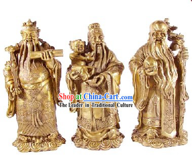 Chinese Traditional Feng Shui God of Luck Health Wealth (3 Statues Set)