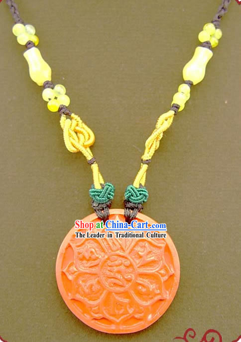 Chinese Feng Shui Kai Guang Vermilion Lotus Necklace (ancient prayer and blessing)
