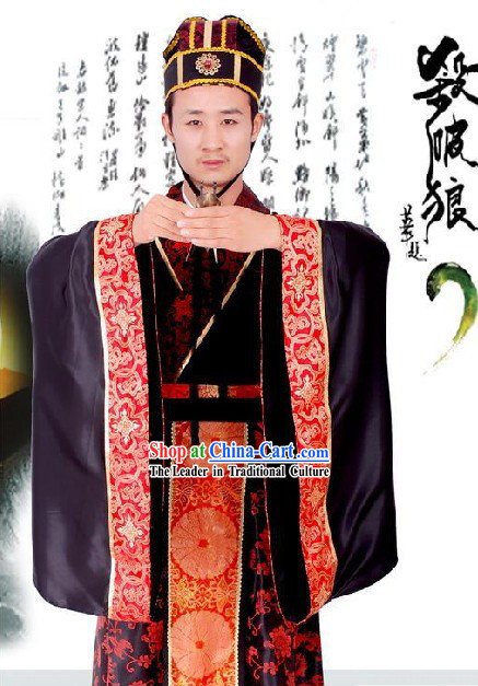 Chinese Traditional Ancient Goverment Offical Costumes and Hat Complete Set
