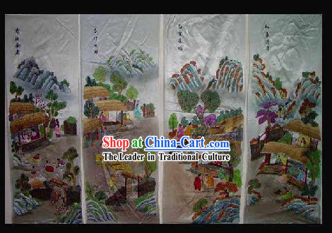 Supreme Chinese Hands Embroidered Collectible Handicraft - People of Four Seasons _four pieces set_