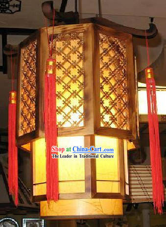 Chinese Classical Hand Made Parchment and Wood Hanging Lantern