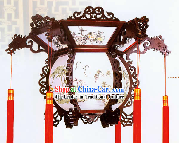 Chinese Hand Made and Carved Wooden Dragon Ceiling Lantern - Landscape Painting
