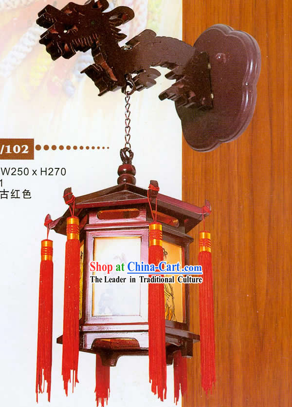 Chinese Hand Made and Carved Wooden Dragon Wall Lantern