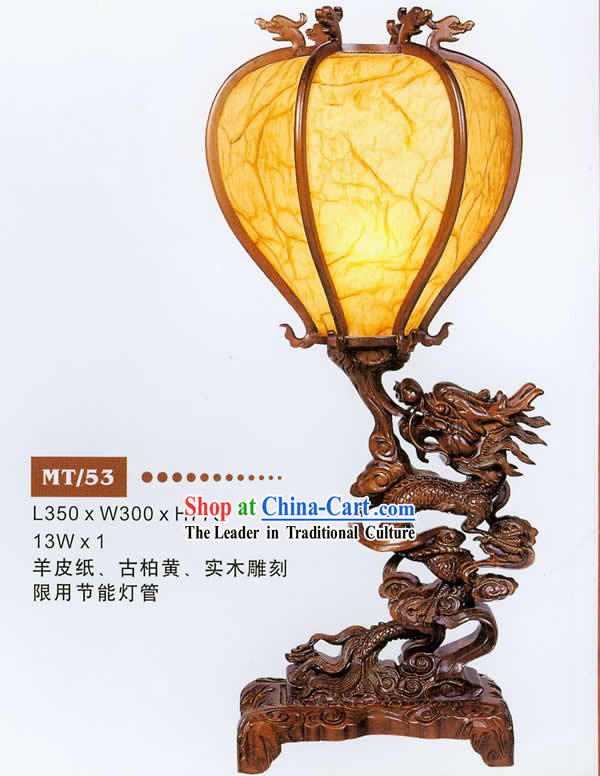 31 Inches Height Large Chinese Hand Carved Wooden Dragon Desk Lantern