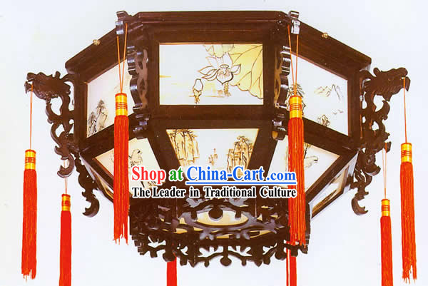 Chinese Hand Carved Double Dragons Palace Ceiling Lantern