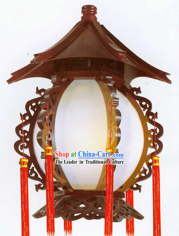 20 Inches Large Chinese Hand Made Tower Shape Wooden Ceiling Lantern