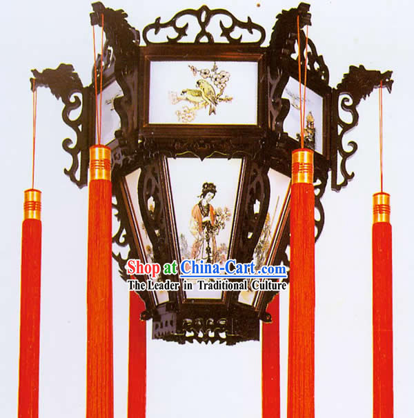 20 Inches Large Chinese Hand Made Wooden Ceiling Lantern - Ancient Four Beauties