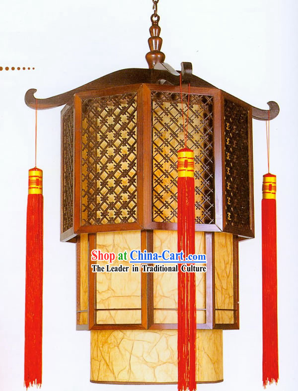 32 Inches Large Chinese Traditional Hand Made Sheepskin Wooden Ceiling Lantern - Tower