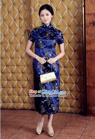 Chinese Classical Blue Phoenix and Dragon Pattern Cheongsam _Qipao_