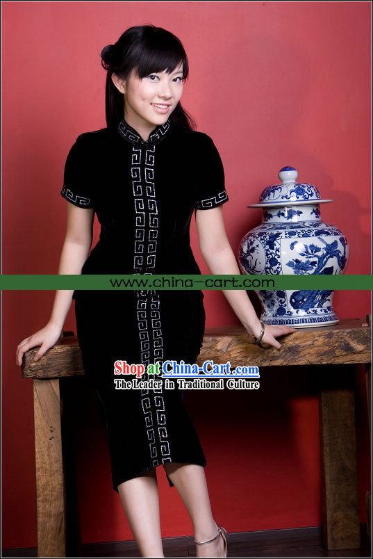 Supreme Chinese Stunning Cloud Velour Long Cheongsam