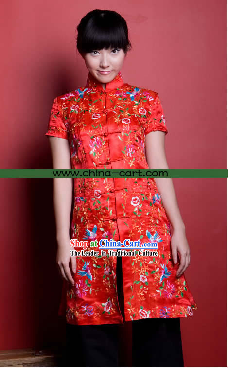Traditional Chinese Stunning Hand Embroidered Flower Garment _red_