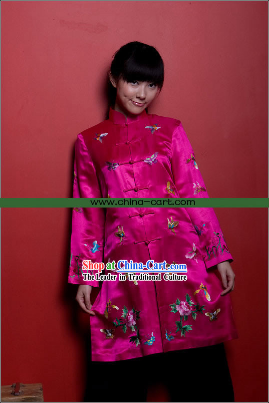 Traditional Chinese Stunning Hand Embroidered Butterfly Long Coat _pink_