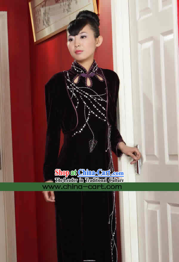 Supreme Chinese Stunning Velour Long Cheongsam