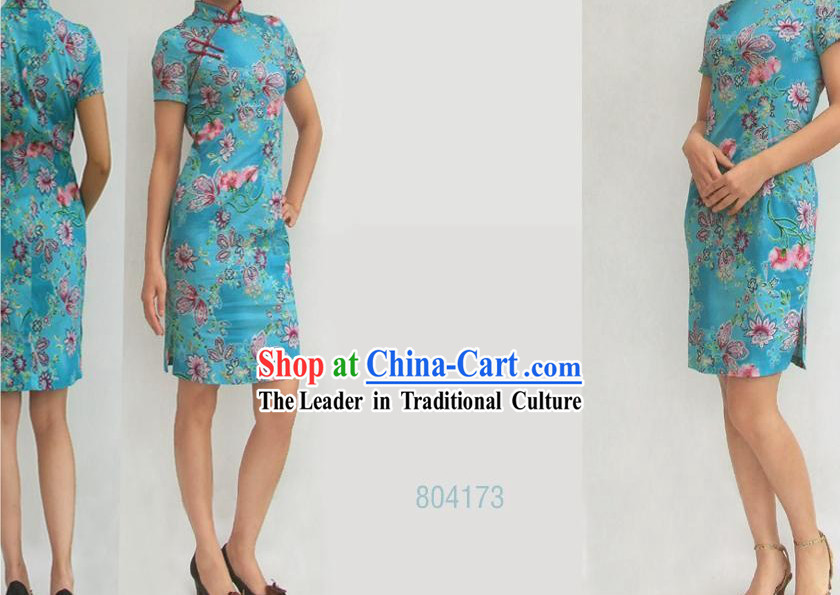 Chinese Stunning Light Blue Butterfly and Flower Cheongsam _Qipao_
