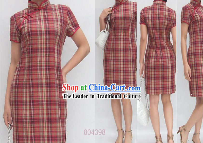 Chinese Traditional Mandarin Academism Cotton Cheongsam - Red Grid