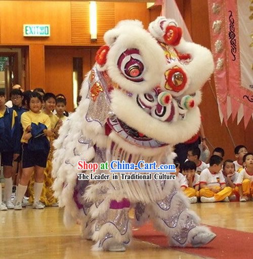 Supreme Competition and Parade Southern HOK SAN Silver Covering Lion Dance Costumes Complete Set